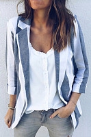 Simple striped long-sleeved slim suit