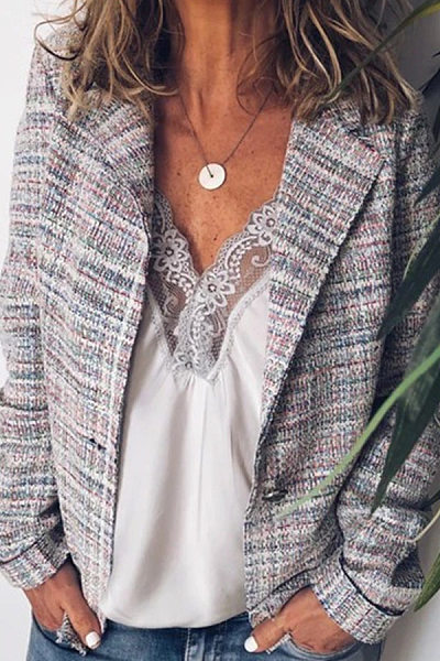 Fashion Lapel Plaid Long Sleeves Outwear