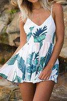 Sexy V-Neck Halter Print Loose Seaside Holiday Jumpsuit