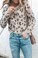Round Neck  Leopard Sweaters