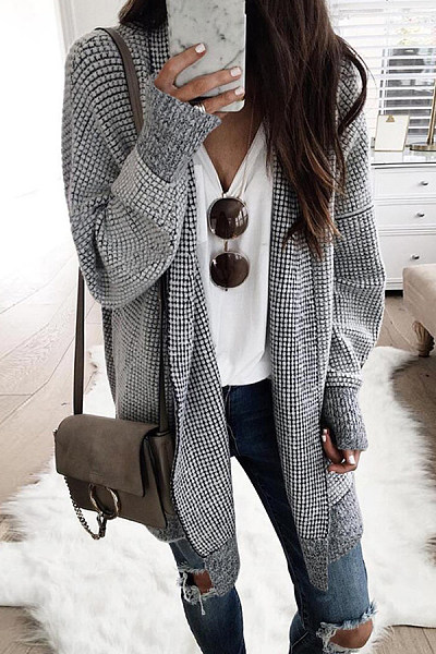 Snap Front  Gingham Cardigans