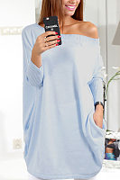 Off Shoulder  Asymmetric Hem  Plain  Batwing Sleeve  Long Sleeve Casual Dresses
