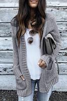 Maternity Patchwork Long Sleeve Knit  Cardigan