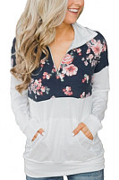 Fold Over Collar  Zipper  Print  Sweatshirts
