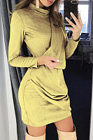 Round Neck  Plain  Long Sleeve Bodycon Dresses