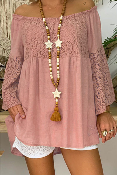 Off Shoulder  Lace Plain  Bell Sleeve T-Shirts
