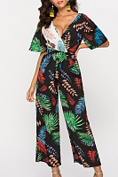 V Neck  Lace Up  Print Jumpsuits