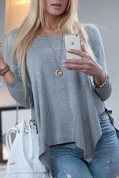 Round Neck Asymmetrical Hem Long Sleeve T-Shirts