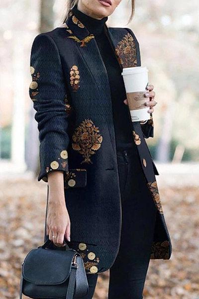 Women Abstract Print Outerwear