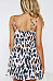 Spaghetti Strap  Backless  Leopard Printed  Sleeveless Skater Dresses