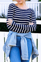 Round Neck  Backless  Striped T-Shirts