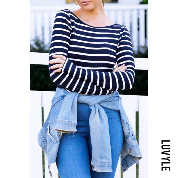 Dark Blue Round Neck Backless Striped T-Shirts Dark Blue Round Neck Backless Striped T-Shirts