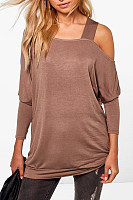 Open Shoulder Patchwork Plain Shirt