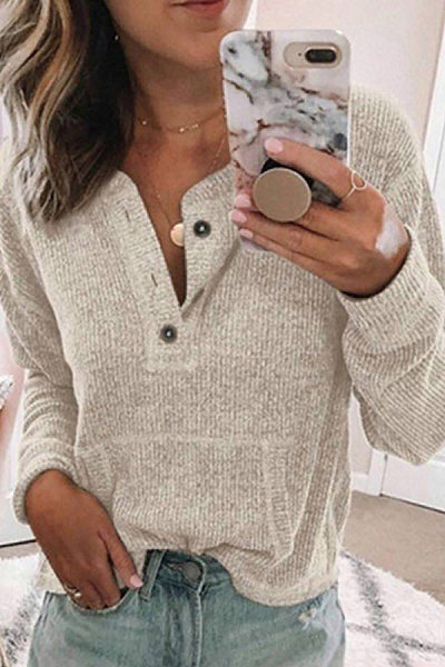 Solid Color Button Long Sleeve Sweater
