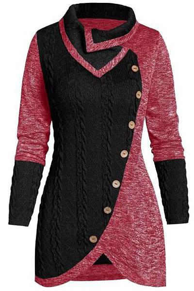 Women's casual long sleeve button decorative stitching irregular sweater