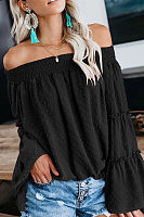 One-Word Collar Floral Casual Loose Chiffon Shirt