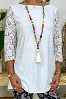 Casual solid color round neck bracelet sleeve T-shirt