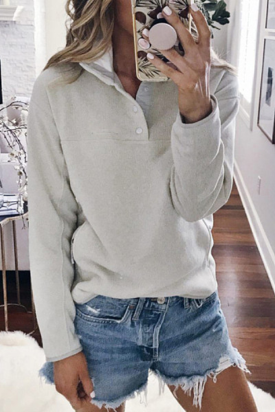 Casual Solid Color Single-breasted Stitching Sweatershirt