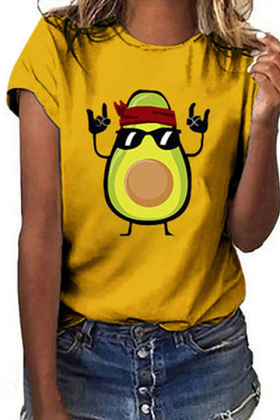 Round Neck Cartoon Printed Casual T-Shirt