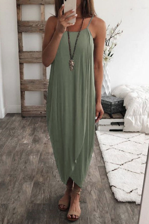Relaxed Boho Summer Look, Cute Casual Loose Maxi Dress with asymmetric hem