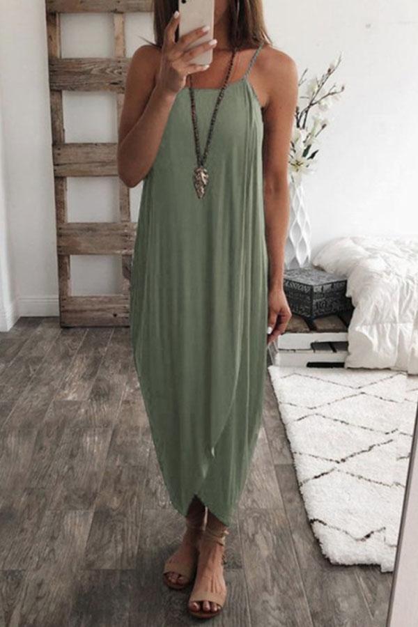 Relaxed Boho Summer Look, Cute Casual Loose Maxi Dress with asymmetric hem
