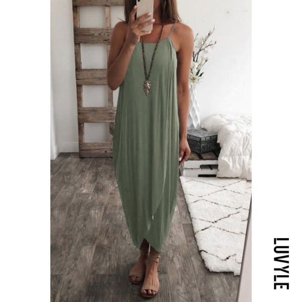 Army Green Spaghetti Strap Asymmetric Hem Plain Sleeveless Maxi Dresses Army Green Spaghetti Strap Asymmetric Hem Plain Sleeveless Maxi Dresses