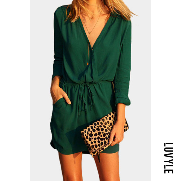 Green Surplice Belt Plain Casual Dresses Green Surplice Belt Plain Casual Dresses