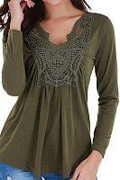 V Neck  Patchwork  Elegant  Lace  Long Sleeve   T-Shirt