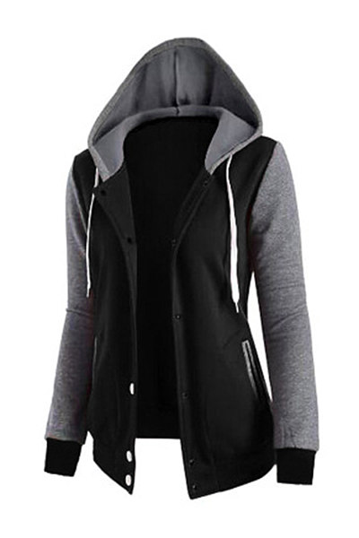 Casual Hooded Pocket Color Block Coat