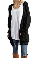 Collarless  Patch Pocket  Plain Cardigans