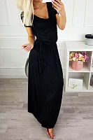 Cowl Neck  Belt  Plain  Short Sleeve Maxi Dresses