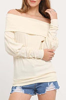 Off Shoulder  Patchwork  Plain T-Shirts