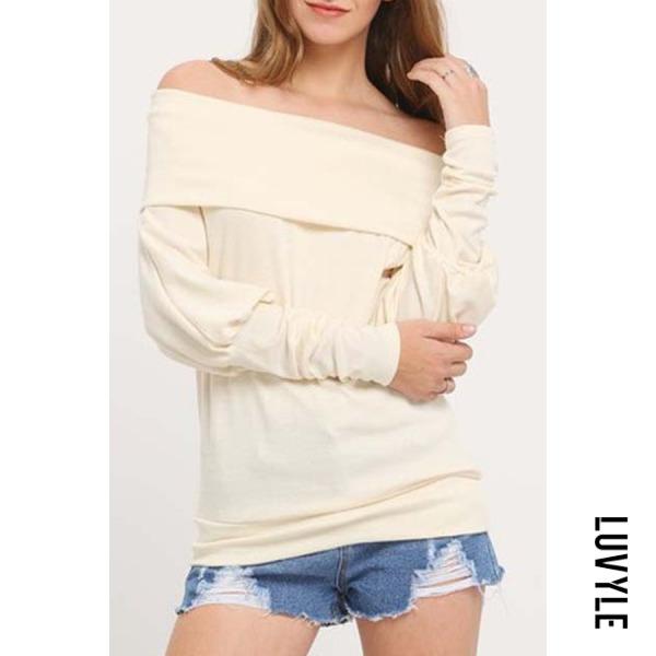 Beige Off Shoulder Patchwork Plain T-Shirts Beige Off Shoulder Patchwork Plain T-Shirts
