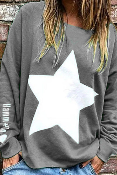 Casual Round Neck Loose-Fitting Star T-Shirt