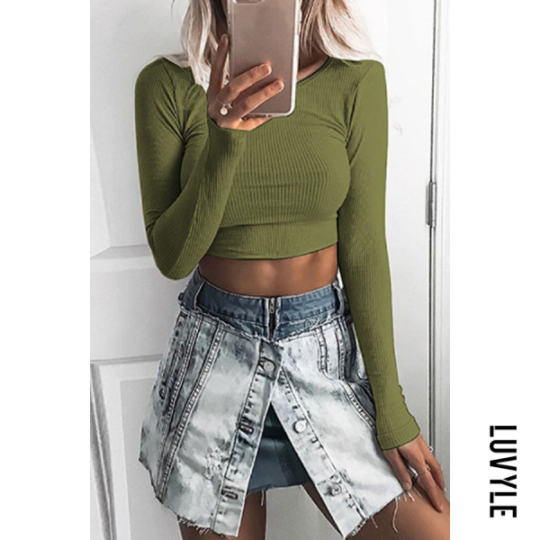 Army Green Round Neck Exposed Navel Plain T-Shirts Army Green Round Neck Exposed Navel Plain T-Shirts