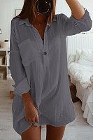 Fashion Loose Long Sleeve Pocket Button Plain Blouses