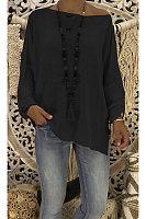 Autumn Loose Pure Color Slant Shoulder Long Sleeve T-Shirt