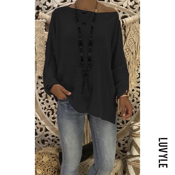 Black Autumn Loose Pure Color Slant Shoulder Long Sleeve T-Shirt Black Autumn Loose Pure Color Slant Shoulder Long Sleeve T-Shirt