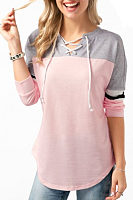 V Neck  Lace Up  Color Block T-Shirts