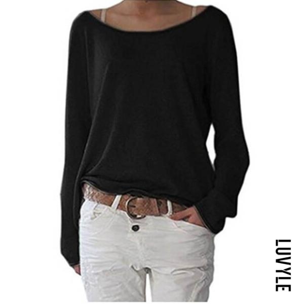 Black Loose Round Neck Long Sleeve Plain T-Shirts Black Loose Round Neck Long Sleeve Plain T-Shirts