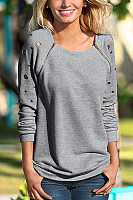 Round Neck Zips Casual Sweatshirt