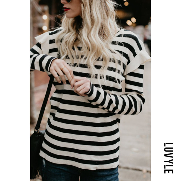 Black Round Neck Striped T-Shirts Black Round Neck Striped T-Shirts