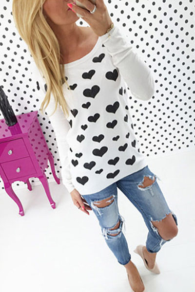Round Neck  Zipper Heart  Printed T-Shirts