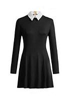 Fold Over Collar  Plain  Long Sleeve Skater Dresses