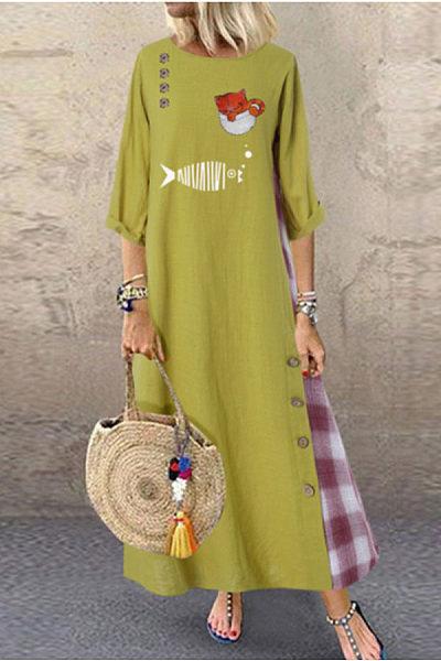 Round Neck Long Sleeve Printed Plaid Maxi Dress