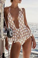 Halter  Backless  Bust Darts  Dot Bikini