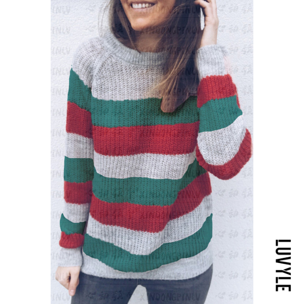 Crew Neck Striped Casual Sweaters