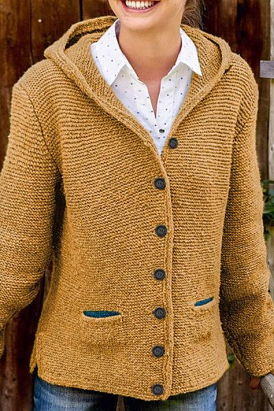 Hooded Plain Knit Long Sleeve Outerwear