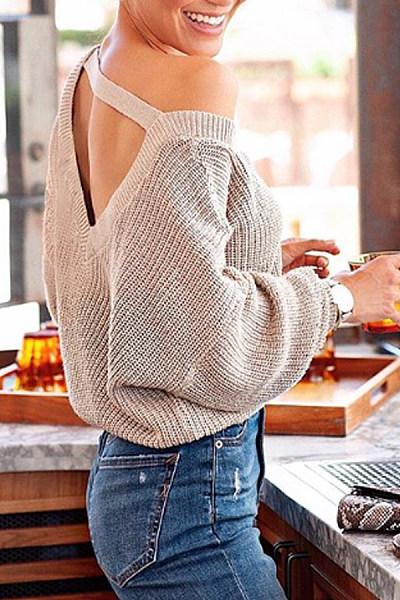 Fashion Backless Long Sleeve Pure Colour Sweater