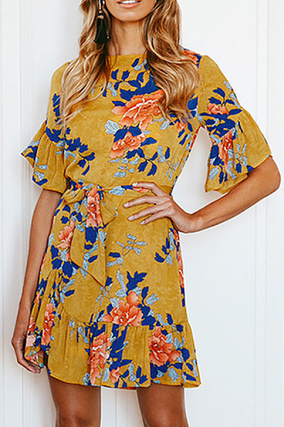 Round Neck  Printed  Short Sleeve Skater Dresses